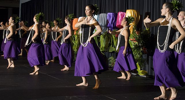 Students dance at a Lu'au