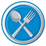 blue plate with fork and spoon graphic