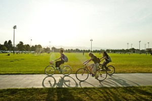 Students riding their bikes near the Intramural Fields on the Colorado State University campus. September 07, 2010