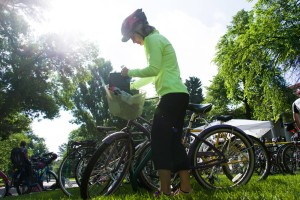 Bicycle commuters celebrate Bike to Work Day at breakfast station on the Colorado State University Oval, June 25, 2014.